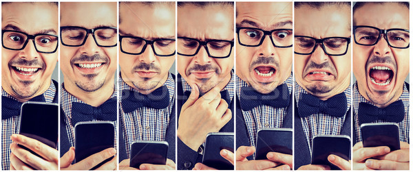 Collage of expressive man with smartphone Stock photo © ichiosea