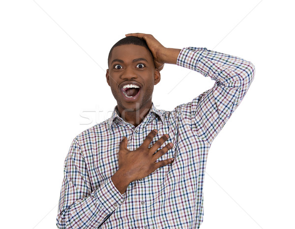 guy shocked and surprised with hand on chest Stock photo © ichiosea