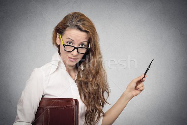 female professor pointing at blackboard Stock photo © ichiosea