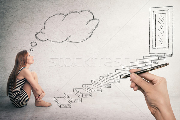 woman sitting in front of a ladder stairways Stock photo © ichiosea