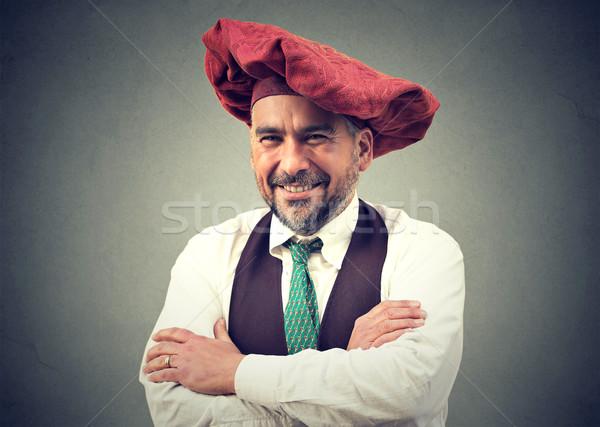 Közelkép portré középkorú férfi arc boldog háttér Stock fotó © ichiosea