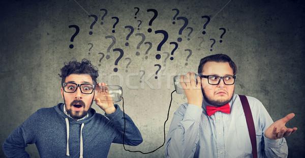 Két férfi problémás kommunikáció kettő vicces néz Stock fotó © ichiosea