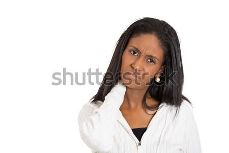 ストックフォト: 不幸 · ビジネス女性 · 悪い · 首の痛み · クローズアップ · 肖像