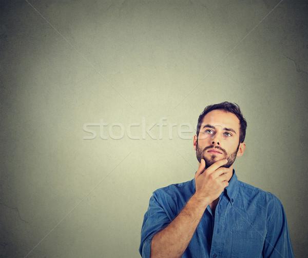 Man denken portret geïsoleerd grijs Stockfoto © ichiosea