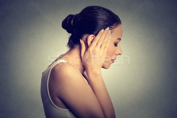 Stock photo: problems. Sad woman with headache