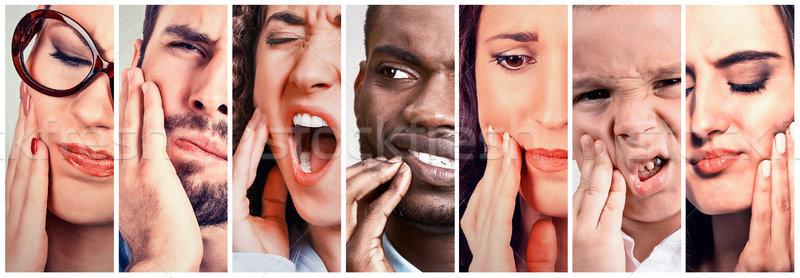 Pessoas do grupo dor de dente homens mulheres criança dente Foto stock © ichiosea