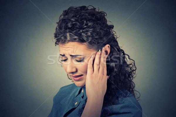 Közelkép beteg női fül fájdalom megérint Stock fotó © ichiosea