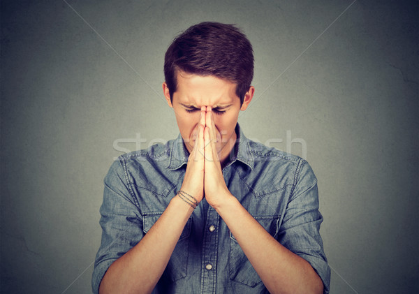 Portrait jeunes désespérée homme prière cri Photo stock © ichiosea