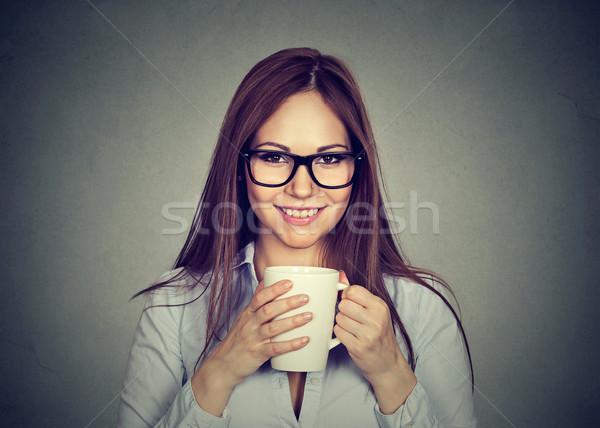Vrouw beker thee koffie meisje gezondheid Stockfoto © ichiosea