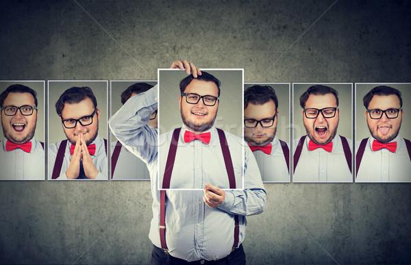 Uomo stato d'animo posa fotocamera paffuto personalità Foto d'archivio © ichiosea