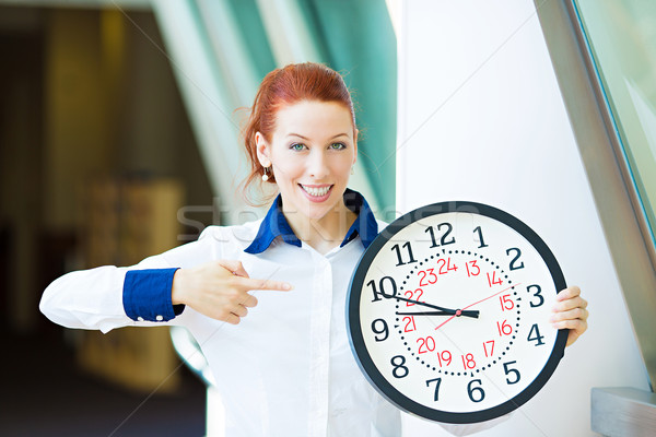 Business woman pointing on wall clock Stock photo © ichiosea