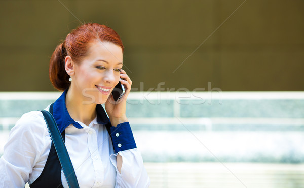 Stock photo: Businessman outdoors,  speaking on phone