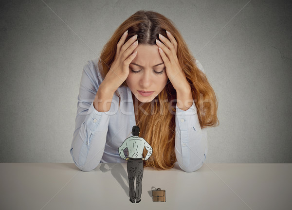 woman leaning on a desk bossy executive man patronizing her Stock photo © ichiosea