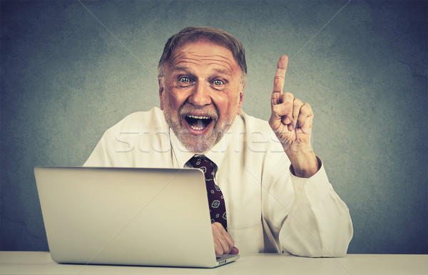 excited senior man using laptop computer has an idea Stock photo © ichiosea