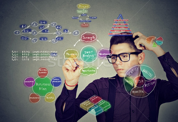 Smart man analyzing human needs and hierarchy writing self development plan  Stock photo © ichiosea