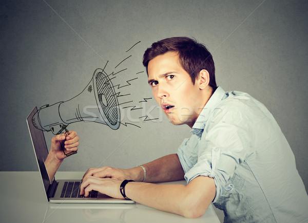 Foto stock: Ansioso · homem · sessão · tabela · trabalhando · computador