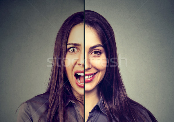 Bipolar disorder and split personality concept. Woman with double face expression  Stock photo © ichiosea