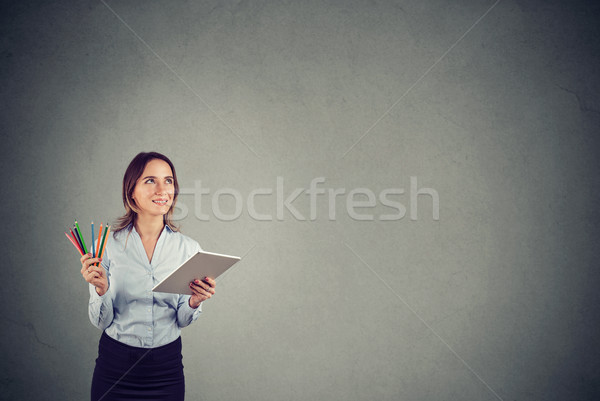 Graphic designer contemplating new ideas Stock photo © ichiosea