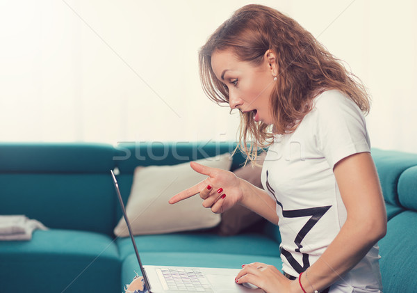 Portrait of an amazed surprised woman with laptop sitting on a couch Stock photo © ichiosea