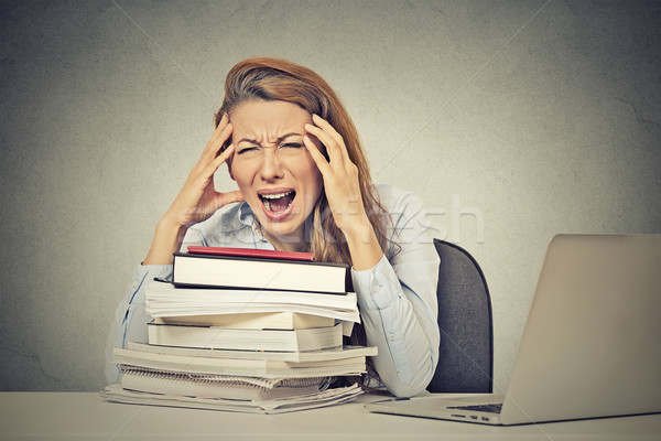 stressed screaming woman sitting at desk with books computer Stock photo © ichiosea