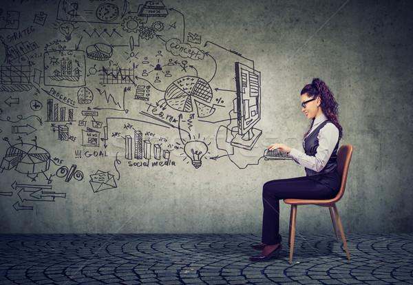 Zakenvrouw werken kantoor business plan Stockfoto © ichiosea