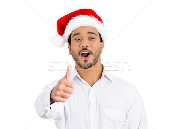 счастливым человека красный Hat знак Сток-фото © ichiosea