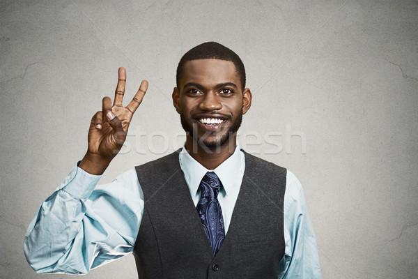 Foto stock: Empresario · victoria · dos · dedos · signo · primer · plano