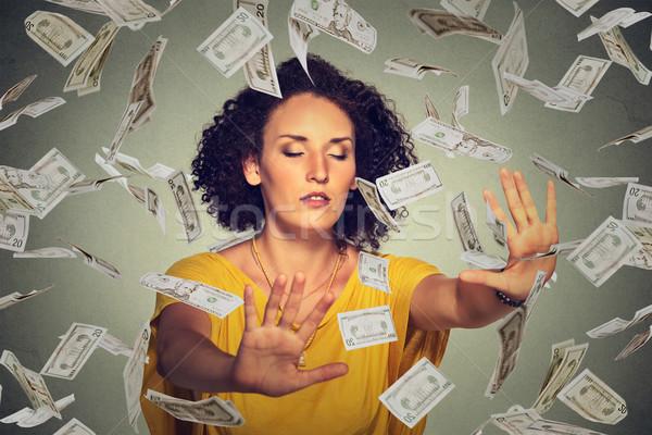 Geblinddoekt vrouw dollar bankbiljetten Stockfoto © ichiosea