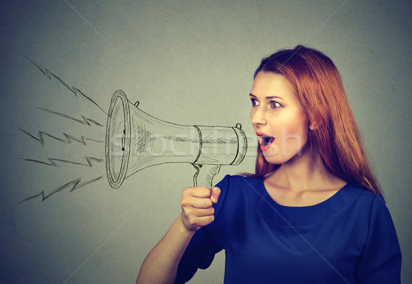angry young woman screaming in megaphone Stock photo © ichiosea
