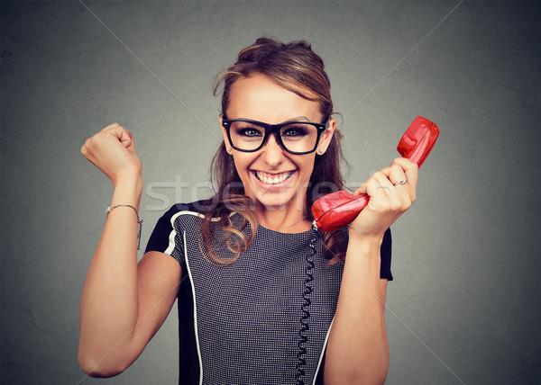 Jeune femme verres magnifique nouvelles téléphone affaires Photo stock © ichiosea