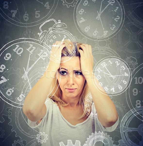 Fiatal nő sok hiány idő nő iroda Stock fotó © ichiosea