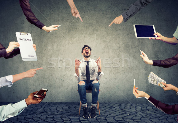 Foto stock: Hombre · de · negocios · cansado · ocupado · empresarial · vida