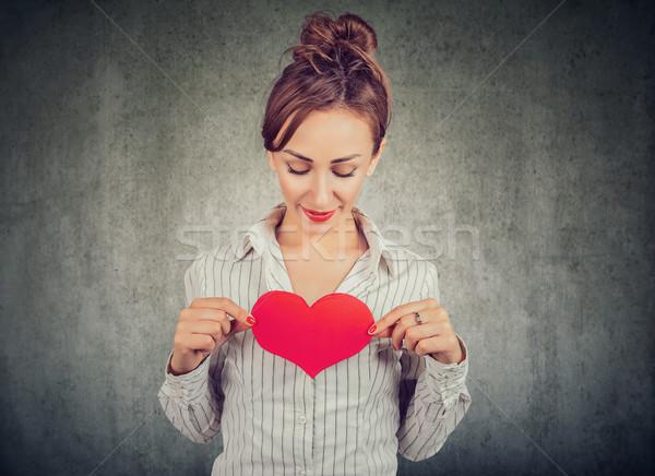 Conteúdo mulher vermelho coração peito Foto stock © ichiosea