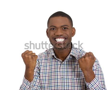 小さな 笑みを浮かべて 男 ポインティング クローズアップ 肖像 ストックフォト © ichiosea