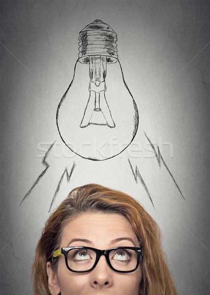 Mujer gafas idea pensando mujer de negocios Foto stock © ichiosea