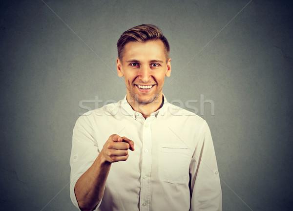 Portret jonge man wijzend vinger business hand Stockfoto © ichiosea