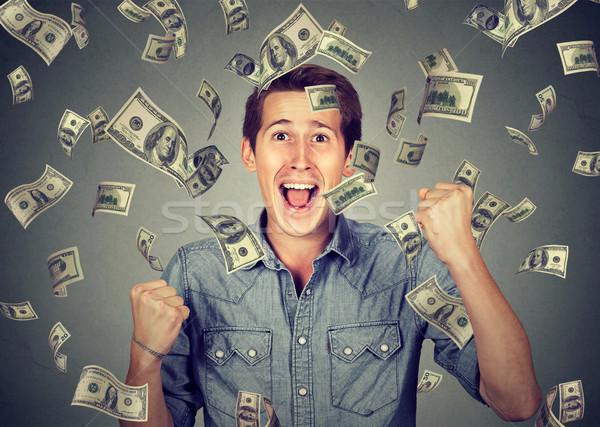 Boldog férfi siker pénz eső fiatalember Stock fotó © ichiosea