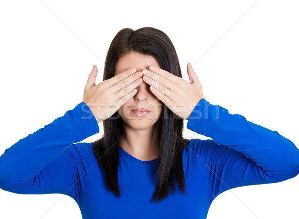 Woman covering eyes Stock photo © ichiosea