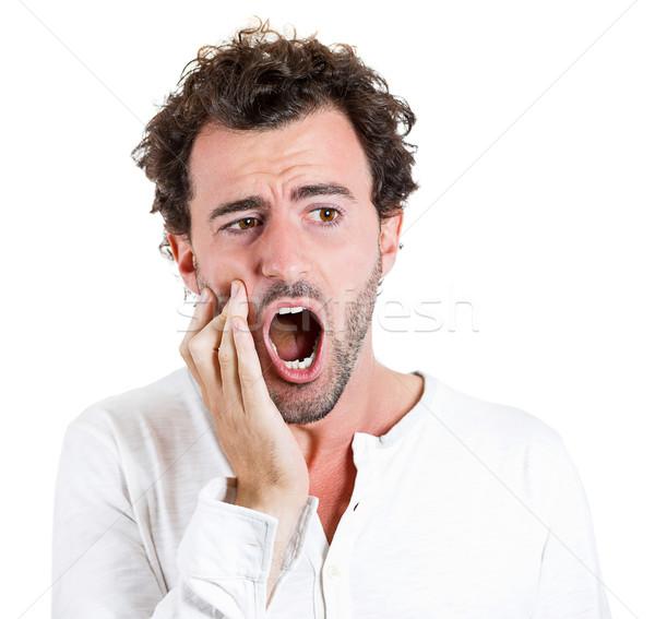 Fogfájás közelkép portré fiatalember fog fájdalom Stock fotó © ichiosea