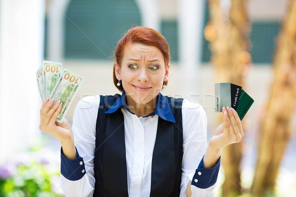 Karışık kadın kredi kartları nakit Stok fotoğraf © ichiosea