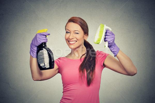 счастливым женщину щетка моющее средство очистки Сток-фото © ichiosea