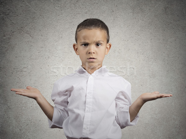 clueless child boy with arms out asking what's problem Stock photo © ichiosea