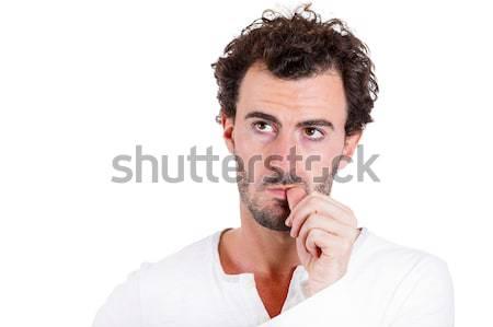 Hüvelykujj közelkép portré gondolkodik férfi ujj Stock fotó © ichiosea