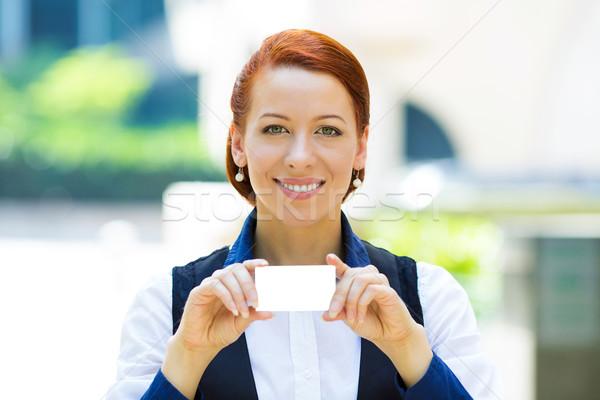 Stock fotó: üzletasszony · mutat · névjegy · közelkép · portré · vonzó