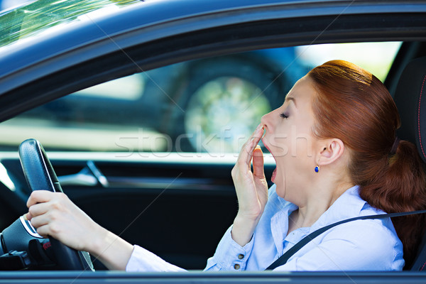 Sleepy fatigued driver, driving car Stock photo © ichiosea