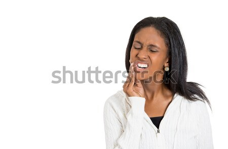 Closeup portrait of young woman suffering from toothache Stock photo © ichiosea