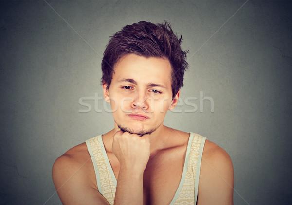 Smutne człowiek patrząc w dół nie motywacja życia Zdjęcia stock © ichiosea