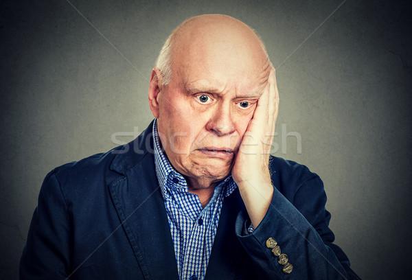 Portre yaşlı umutsuz üzücü adam aile Stok fotoğraf © ichiosea