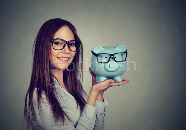 Nő izgatott megtakarított pénz vásárol szemüveg boldog Stock fotó © ichiosea