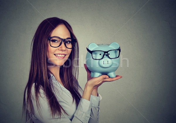 Mulher animado poupança compra óculos feliz Foto stock © ichiosea